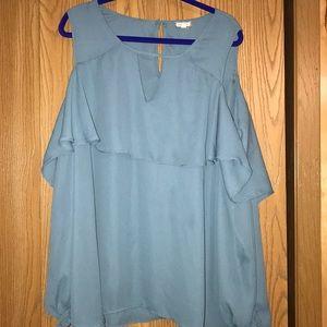 Blue Cold Shoulder Blouse 3x